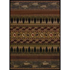 Sayre River Ridge Lodge Brown Area Rug