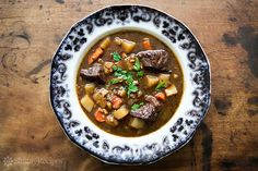 Beef stew recipe made with beef, garlic, stock, Irish Guinness beer, red wine…