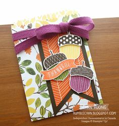 A treat bag made with the Acorny Thank You stamp set and Acorn Builder punch from Stampin' Up!   - Made by Chan Vuong