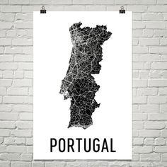 Portugal Map, Map of Portugal, Portugal Art, Portugal Print, Portugal Wall Art, Portugese Gifts, Portugese Decor, Portugal Map Print