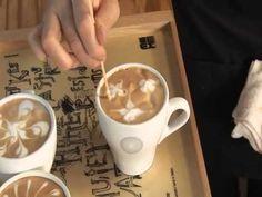 08 라떼아트 다양한 응용 - YouTube Coffee Design, Latte Art, Mugs, Drinks, Tableware, Coffee Art, Drinking, Beverages, Dinnerware