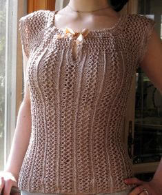 Ravelry: Delphine: Lacy Cap-Sleeve Top pattern by Kristeen Griffin-Grimes Lace Knitting, Knitting Patterns Free, Knit Patterns, Lace Camisole Top, Eyelet Lace, Crochet Trim, Knit Crochet, Cap Sleeve Top, Top Pattern