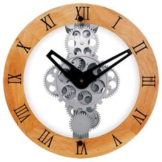Maples Clock Wooden Moving Gear Wall Clock with Wooden Dial Ring