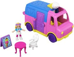 Polly Pocket Pollyville Ice Cream Truck with Polly Doll & Accessories Image 1 of 6 Hot Wheels Storage, Toy Car Storage, Hot Wheels Display, Sheriff Woody, Dollhouse Kits, Dollhouse Miniatures, Baby Toys, Kids Toys, Toddler Toys