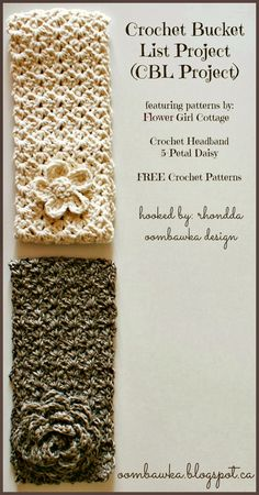 Oombawka Design *Crochet*: Flower Girl Cottage - FREE Crochet Headband and Flower Patterns - A Crochet Bucket List Project (CBL Project) Crochet Motifs, Knit Or Crochet, Learn To Crochet, Crochet Scarves, Crochet Crafts, Crochet Clothes, Crochet Projects, Crochet Baby, Crochet Patterns
