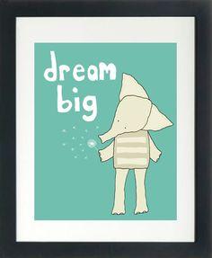 Nursery Art Print for Girl or Boy (Dream Big in Teal). $18.00, via Etsy.