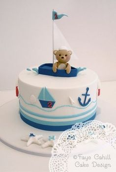 Bear in a sailboat cake Nautical Birthday Cakes, Toddler Birthday Cakes, Baby Boy Birthday Cake, Nautical Cake, Nautical Theme, Vintage Nautical, Birthday Parties, Sailboat Cake, Teddy Bear Cakes