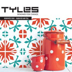 Tyles vinyl decal backsplash and wall decor product in Renovated Souk Warm Red & Teal. Great for kitchens, bathrooms, or any wall in your home or business. Aqua Kitchen, Turquoise Kitchen, Vinyl Wall Covering, Red Colour Palette, Wallpaper Stickers, Red And Teal, Unique Wall Decor, Kitchen On A Budget, Kitchen Ideas