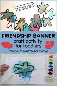 This toddler friendship activity is easy and fun to make and is a simple reminder that we are all friends in our classroom.#toddlers #friendship #banner #art #printable #activity #teaching2and3yearolds Craft Activities For Toddlers, Alphabet For Toddlers, Science For Toddlers, Sorting Activities, Alphabet Activities, Autumn Activities, Science Activities, Toddler Preschool, Friendship Signs