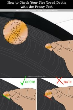 Use this simple penny test to check the tire tread depth of each tire so you know when to replace your tires. Also includes tips & easy printable PDF.