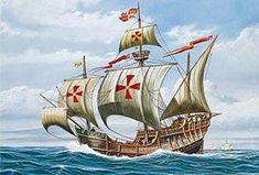 Depiction of Nau Santa Maria, the Flagship of Admiral Christopher Columbus (Cristobal Colon). Christopher Columbus Facts, Santa Maria Ship, Columbus Ship, Happy Columbus Day, Spanish Galleon, 10 Interesting Facts, Ap World History, Age Of Empires, Ship Paintings