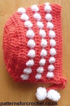 Free crochet pattern for newborn baby bonnet from http://www.patternsforcrochet.co.uk/bonnet-usa.html #patternsforcrochet #freecrochetpatterns