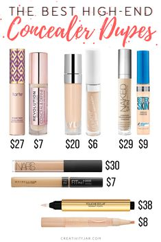 Drugstore Dupe Series: Concealers - Creativity Jar - - Next up in my drugstore dupe series is concealers! These are 5 affordable options to some of the most popular high-end products and you need to try them! Drugstore Makeup Dupes, Beauty Dupes, Best Drugstore Concealer, Elf Dupes, Best Drugstore Foundation, Foundation Dupes, Skincare Dupes, Sephora Makeup, Makeup Kit
