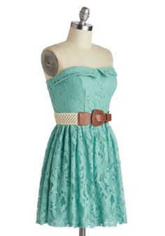 Dream de Menthe Dress, #ModCloth    Not a fan of the belt or the neckline but this lacey material and colour are pretty..