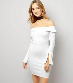 Cream Bardot Neck Split Sleeve Bodycon Dress