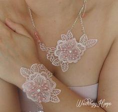Lace necklace, wedding necklace, bridal necklace, bridesmaid necklace, Lace jewelry, unigue, wedding accessory FREE SHIP via Etsy