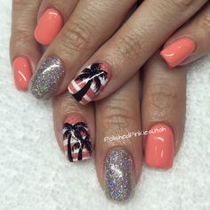 Polished Pinkies Utah: gorgeous spring nails. Silver holographic glitter with a light coral nail color. Accented with black palm trees! So fun for spring nails, summer nails, vacation nails. Shellac, gel polish, gel nails.