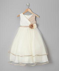Look at this #zulilyfind! Champagne & Ivory Flower Surplice Dress - Toddler & Girls by Kid's Dream #zulilyfinds