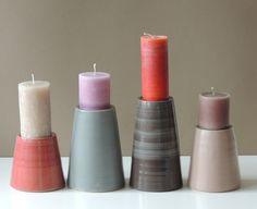 vier Keramik-Kerzenständer 14-65 von s_wellmeier auf DaWanda.com