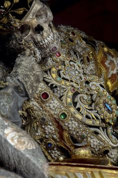 """St. Valentinus: """"One of ten full articulated, jeweled skeletons in the town's church, which is the largest intact collection in existence."""" Photo by Paul Koudounaris, author of """"Heavenly Bodies: Cult Treasures and Spectacular Saints from the Catacombs."""""""