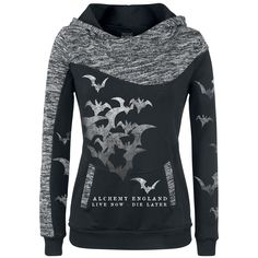 "Hooded girls sweater by Alchemy England:  - two slide-in pockets - print with bats on the front/vintage optics - hood, one sleeve and both cuffs at the slide-in pockets in mottled contrast colours - additional bat prints on both sleeves  Hope you're not scared of birds! a whole flock of bats attacks you on this ""Batts Attack"" hoodie. The unique girls sweater was created by Alchemy England and shows a bunch of shiny wild bats. The hoodie also features a wide hood with a dev..."