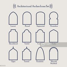 stock illustration : Set of common types of architectural arches frame icons Arch Architecture, Islamic Architecture, Morrocan Architecture, Architecture Symbols, Architecture Sketches, Architecture Wallpaper, Architectural Features, Architectural Elements, Shower Tile Designs