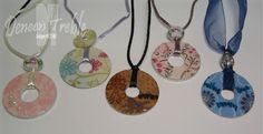 Washer Pendant Necklaces & Keychains Made these at camp this year...really simple. Used scrapbook paper and Cricut to cut circles. Put glaze in ziplock bag, cut small hole and drizzled on to top til almost full. Let dry at least one hour.
