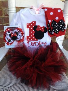 First Birthday tutu Outfit  -- Pretty Miss Minnie Mouse in red and black -- leg warmers and personalized bodysuit on Etsy, $79.95