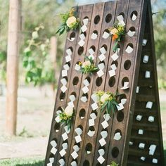 Bianca Riddling Rack at Found Vintage Rentals. Standing riddling rack for wine bottles. Can be used for ceremony backdrop, as part of a display. Can be filled with flowers or used for escort cards. Each side of the rack as 60 holes. Wedding Paper, Our Wedding, Wedding Ideas, Wedding Inspiration, Fall Wedding, Wedding Events, Dream Wedding, Flower Decorations, Wedding Decorations