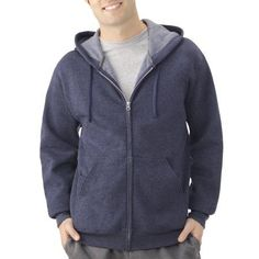 Fruit Of The Loom Men's Full Zip Hoodie, Size: Medium, Blue