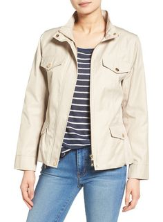 sophie utility jacket by CeCe. A slightly nipped-in shape with a flouncy peplum in back brings feminine flattery to a lustrous spring jacket equippe...