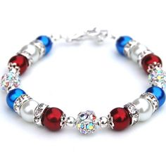 Red White and Blue Pearl Bracelet Patriotic Bracelet by AMIdesigns, $24.00