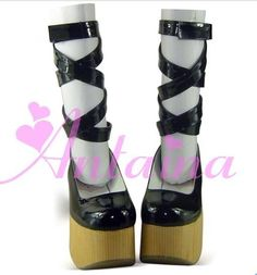 63.55$  Buy here - http://alic10.worldwells.pw/go.php?t=32788365743 - Princess sweet lolita shoes Vintage lacing ribbon cross band HARAJUKU wedges platform wood heel doll maid shoes black pink 9836
