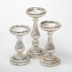Buy Richland Ribbed Unique Mercury Glass Pillar Candle Holder Set of 3 Mercury Glass Candle Holders, Hurricane Candle Holders, Wooden Candle Holders, Glass Candlesticks, Candle Holder Set, Glass Holders, Pillar Candles, Candleholders, Fancy Candles
