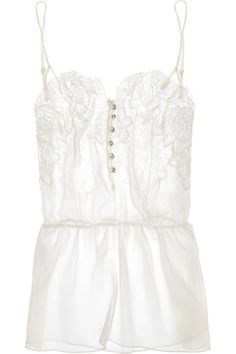ROSAMOSARIO  Buongiorno Dolcezza silk-georgette and Chantilly lace camisole