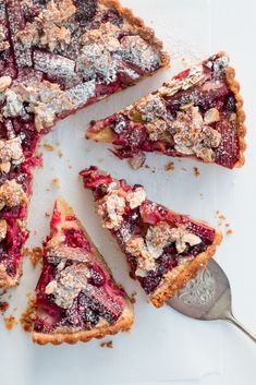 Rhubarb & Raspberry Frangipane Tart with Almond Praline - The Brick Kitchen