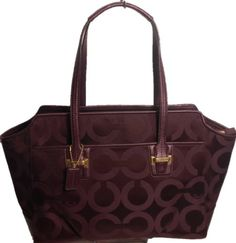 COACH 25501 BORDEAUX OP ART TAYLOR SIGNATURE ALEXIS CARRYALL - #Handbag
