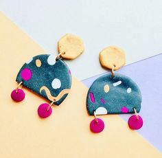 Funky Geometric Polymer Clay Earrings. Funky Statement Earrings. Memphis earrings. Colourful 80s earrings.