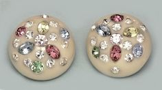 Vintage Unsigned WEISS DOME Thermo PLASTIC EARRINGS RHINESTONES  #WEISS #CLIPS