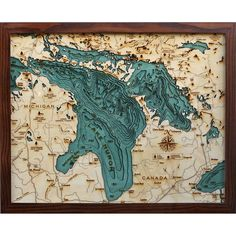 Below the Boat - Lake Huron - Laser Cut Contour Map