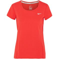 Nike Dri-FIT perforated stretch-jersey T-shirt ($45) ❤ liked on Polyvore featuring activewear, activewear tops, orange, nike sportswear, nike ve nike activewear