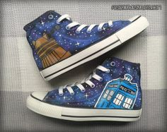 Doctor Who Custom Converse / Tardis & Dalek / Dr Who Painted Shoes