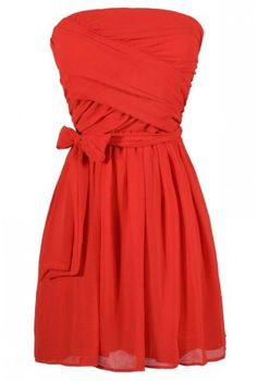 Kylie Crossover Chiffon Strapless Dress In Tomato