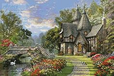 The Old Waterway Cottage - cross stitch pattern designed by Tereena Clarke. Category: Architecture.