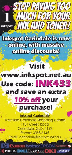 #ink #printers #retail #carindale #westfield #promotion #sale #deal #inkspot #inkspotcarindale #shopping #buy   #print #ink #epson #hp #canon #brother #toner #value #save #halfprice