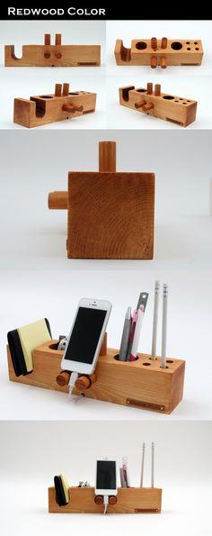 Phone,walnut and pencil holder
