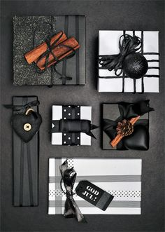 Elegant Halloween and Christmas Gift Wrapping // idées emballages cadeaux, black and white wrapping, packages, gifts Wrapping Ideas, Present Wrapping, Creative Gift Wrapping, Creative Gifts, Paper Wrapping, Elegant Gift Wrapping, Black Christmas, Christmas Diy, Beautiful Christmas