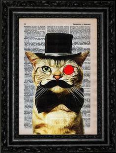 Gentleman-Cat-Vintage-Dictionary-Art-Print-Book-Print-Wall-Deco-Illustration-Cat