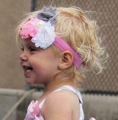 Pink Grey Shabby Chic Headband sparkleinpink.com Shabby Chic Headbands, Custom Headbands, Pink Grey, Little Girls, Jade, Babies, Fashion, Moda, Toddler Girls