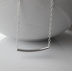 Sterling Curved Round Tube Necklace / Sterling by SilverorBronze, $27.00
